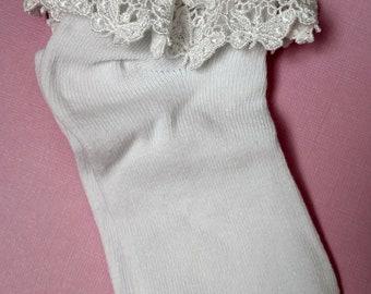 First Communion Socks Lace Edge