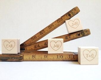 "Custom Stamp. Heart Stamp for DIY Wedding Decor. 1""x1"""