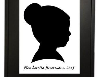 Custom Black and White Printed & Framed Silhouette Portrait, Profile