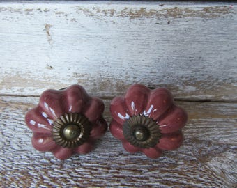 2 Purple Ceramic Knobs for Drawers or Cabinets Scallop Pumpkin Shape Antiqued Brass Centers Drawer or Cabinet Pulls Ready to Ship B-26
