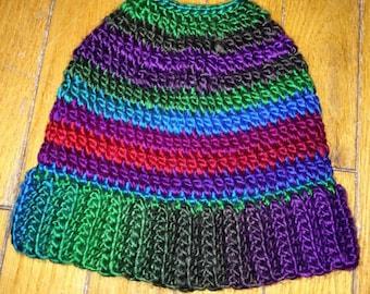 Messy Bun Hat - Messy Bun Beanie - Ponytail Hat - Colourful Winter Hat - Women's Crochet Hat
