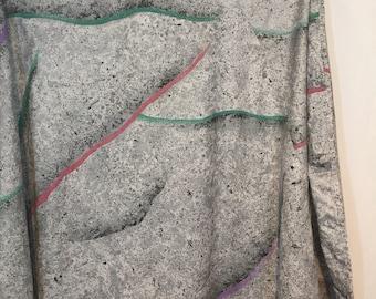 "Vintage Totally Tubular Paint Splatter 72"" Round Tablecloth 80s Eighties Gray Black White Seafoam Mauve Purple  JC Penney"