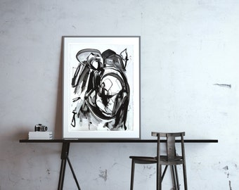 Large Abstract ORIGINAL Painting, Black Painting, Black Line Painting, Abstract Ink Painting, Black Ink Painting, Black Ink on Paper, 22x30