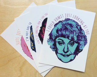 The Golden Girls Postcard Set // Friend Gift // Bea Arthur // Blanche Sophia Rose Dorothy // Thank you for being a friend // Greeting Card