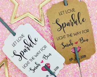 Sparkler Gift Tags, Wedding Sparklers, Let Love Sparkle, Wedding Firework Tags, Wedding Favour