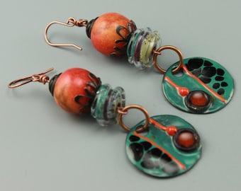 Rustic Boho Earrings, Boho Earrings, Hippie Earrings, Rustic Hippie Earrings, Tribal Earrings, Primitive Earrings,  #631-114