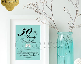 """Birthday signs decorations, 50 and utterly fabulous, breakfast themed party printable Audrey Hepburn quote 5x7"""" INSTANT DOWNLOAD"""