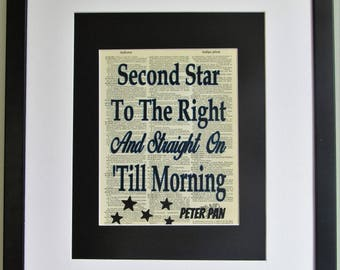 Second Star To The Right And Straight On 'Till Morning Peter Pan Quote On Upcycled Vintage Dictionary Page Wall Décor Nursery Decor