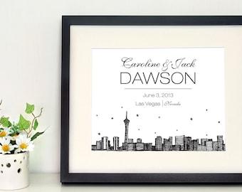 Las Vegas Skyline 8 x 10 inch personalized wall art, gift for newlyweds, city skyline, wedding gifts, housewarming gifts