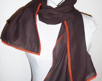 Scarf / scarf chocolate cotton Voile