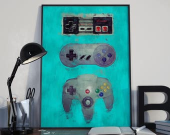 Nintendo Controllers Retro Vintage Classic NES Poster Print Painting