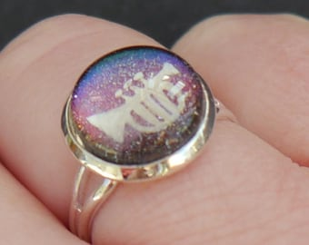 Hand-Painted Cornet/Trumpet Ring - Colour-Shifting Multichrome Holographic Nail Polish Jewellery - Gifts for Musicians - Brass Player Gift