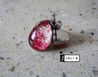 Tree steel rose flower earrings - Earrings stainless pink - Studs - stainless glass Cabochon