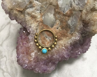 Cosmic blue brass septum ring