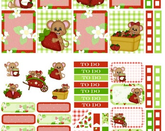 Strawberry Mouse planner sticker kit