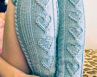 Heart Warmers KNITTING PATTERN INSTRUCTIONS Grey Heart Cable Knit Legwarmers and Mini Mitts in Girls and Adult Sizes