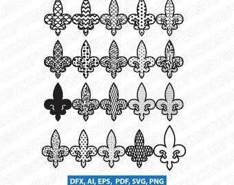 20 Fleur de lis SVG Vector Silhouette Cameo Cricut Cut File Clipart Dxf Png Eps