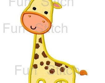 Giraffe applique machine embroidery design