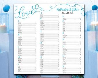 "Heart Wedding Seating Chart Template - Malibu Wedding Reception Seating ""Love"" Script DIY Wedding Template Printable Wedding 22x22 Download"