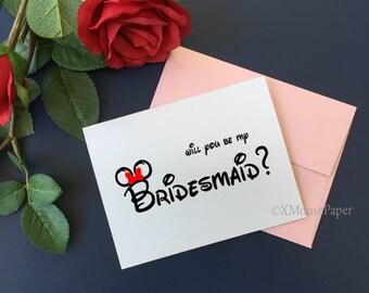 Cute Disney Bridesmaid Cards, Disney Will You Be My Bridesmaid, Bridesmaid Card, Ask Maid of Honor card, Bridesmaid, Bridesmaid Proposal