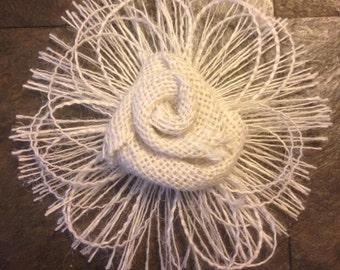 Primitive Burlap Loop Fringe Rose Flower Handmade Rustic Wedding Baby Shabby Chic Mason Jar Candle Cake Accent (1)