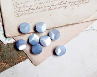 vintage pale blue  buttons - mother of pearl with a pretty shimmer - 11mm - 8 buttons