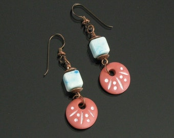 Rustic Terracotta Earrings, Earthy Copper Dangle Earrings, Blue Agate Earrings, Earthy Tribal Earrings, Unique Gift Women, Niobium Earrings
