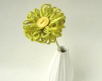 Lime Green Ribbon Flower Stem, home decor, table decor