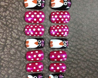Penguin Nails False Nails Press on Nails Glue on Nails Artificial Nails Fake Nails - Nail Extensions