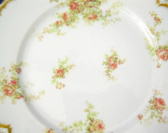 Vintage French Haviland Limoges Luncheon Plate Pink Roses Gold Scalloped Edge