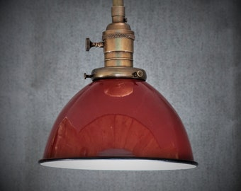Semi Flush Light Fixture w/ Red Porcelain Enamel Shade and Down Rod - Antique Reproduction Fixtures - Hand Finished Brass