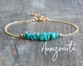 Amazonite Bracelet, Raw Crystal Bracelet, Raw Stone Bracelet, Yoga Bracelet, Girlfriend Gift for Her, Amazonite Jewelry, Chakra Jewelry