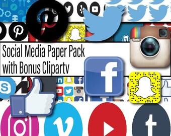 Social Media Digital Paper, Facebook downloads, Scrapbook Paper, Twitter Scrapbook Paper, Instagram Paper, Instant Download, Digital, Social
