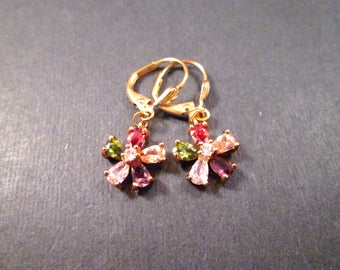 Cubic Zirconia Flower Earrings, Rainbow Rhinestone Blossoms, Gold Dangle Earrings, FREE Shipping U.S.