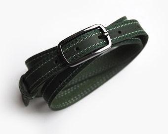 Leather belt for women, Dark green leather belt, Narrow belt, ALL SIZES