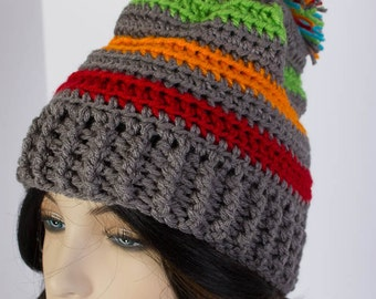 Striped Slouch Hat - Crochet Beanie - Slouchy Beanie For the Whole Family - Dark Grey with Colored Stripes - Pom Pom Hat - Crochet Ski Hat