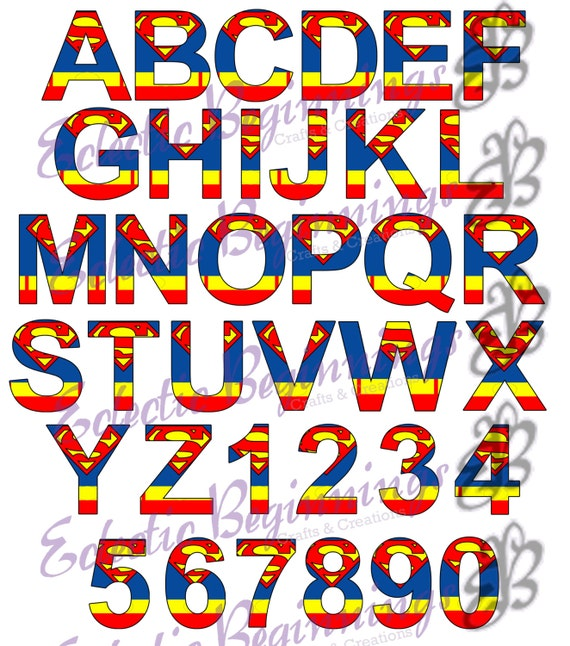 alphabet and numbers png digital file diy print clip rh etsy com superman logo alphabet font superman symbol alphabet