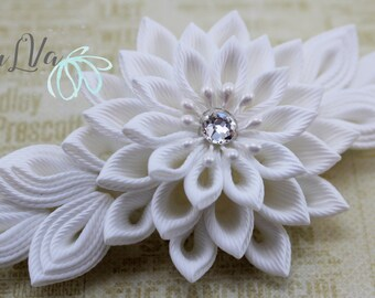 White Bridal Kanzashi fabric flower french barrette. Bridal Hairpiece.