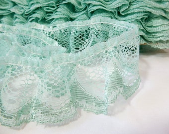 Mint Green, Aqua, Lace Trim, Ruffle Lace on Lace, by the yard, craft, sewing, doll clothes