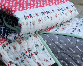 Arrows with Coral & Navy with Gray Crib Quilt, Coral Navy Quilt, Arrow Quilt, Gray Arrow Quilt, Crib Quilt, Baby Quilt