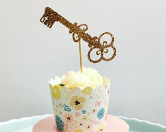 12ct key cupcake topper, key to the heart cupcake topper, alice and wonderland key cupcake toppers