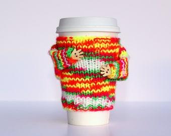 Cup sleeve. Travel mug cozy. Coffee cozy. Neon colors. Yellow orange pink. Valentine's gift Mug sweater. Teen girl gift. Mug hug cozy