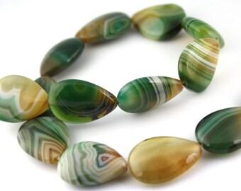 Free UK postage - 5 pcs - AAA grade Natural Malachite Agate Beads, Teardrop, 18 x 25 mm, gemstone