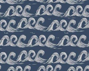 ORGANIC Cotton Jersey - Navy Waves - Summer Fabric -  Elvelyckan Design