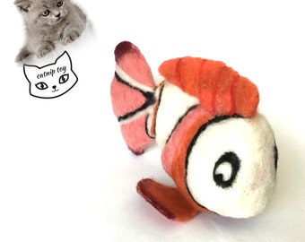 Clown Fish CAT TOY, Needle Felted Cat Toy, Catnip Cat Toy with Bell, Felted Cat Things, Felt Ornament, Cat lovers Gifts, Hand Made Cat Toy