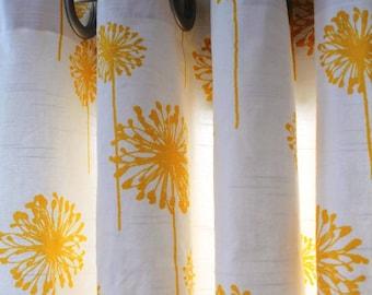 "Valance Window Top Treatment  Rod Pocket / Grommet in Premier Prints Dandelion Slub White/Yellow 50""wide x 16"" Height"