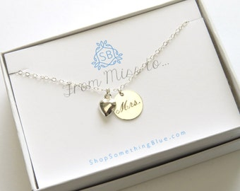 Bridal Shower Gift • Engraved Mrs. Necklace • Just Married • Heart Charm • New Bride • Honeymoon Gift For Bride • Layering Necklace
