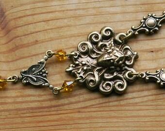 Art Nouveau Goddess Brass Sleeping Golden Gaia Beautiful Woman Face Feminine Necklace