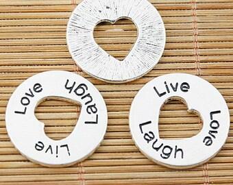 6pcs tibetan silver round Love Laugh Live lettering charms EF1449