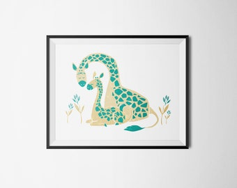 Nursery Decor, Teal Giraffe 5x7
